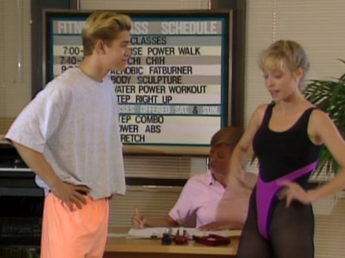 Zack Morris and sexy fitness instructor from Saved By The Bell