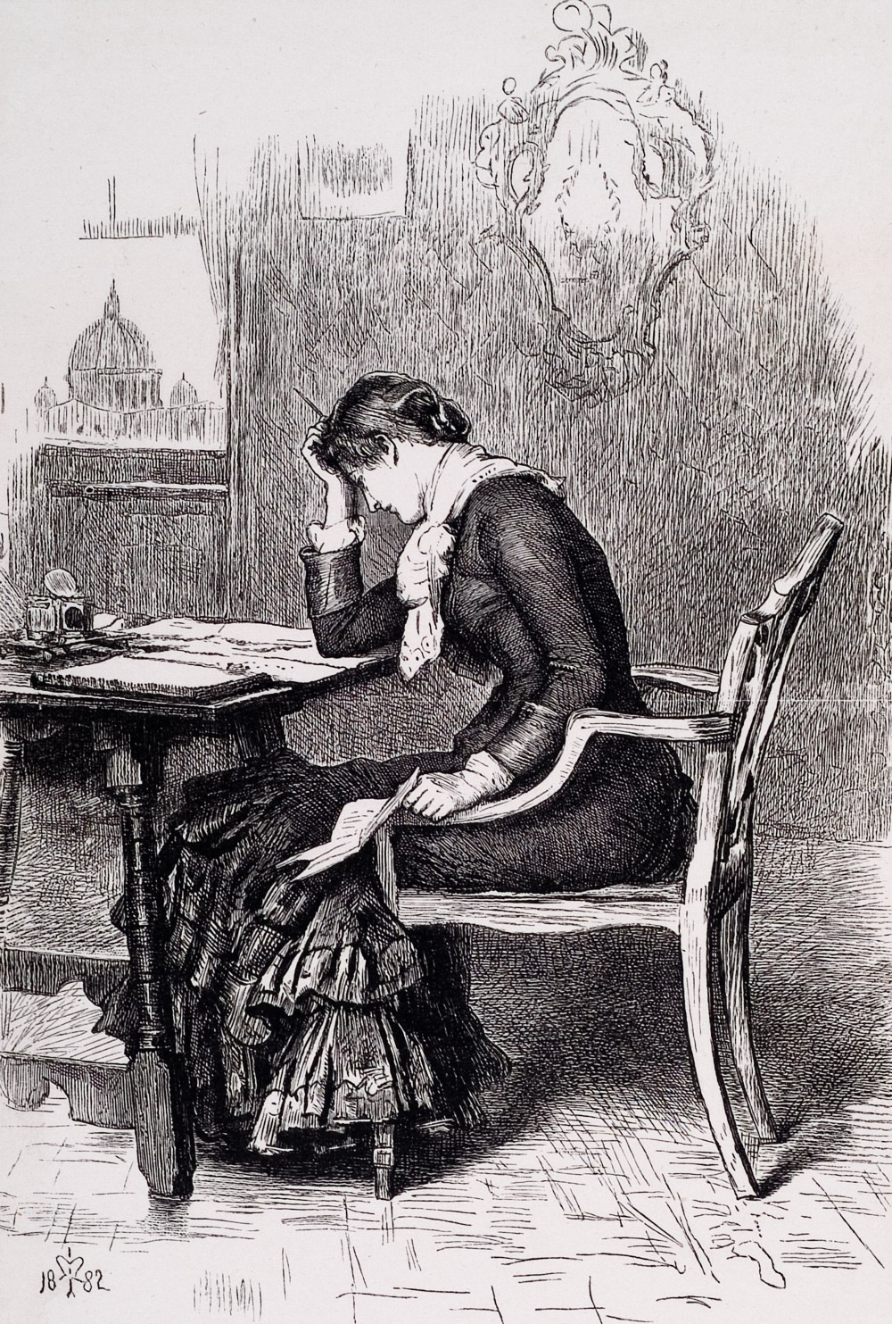 Woman, sitting at a desk with many documents, rubbing her head.