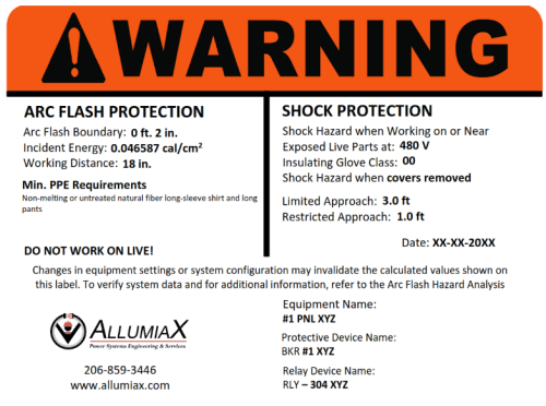 Warning label or sticker Arc flash protection and shock protection