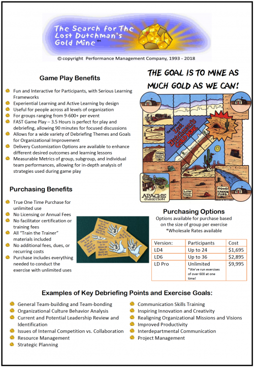 A flyer about The Search for The Lost Dutchman's Gold Mine team building game