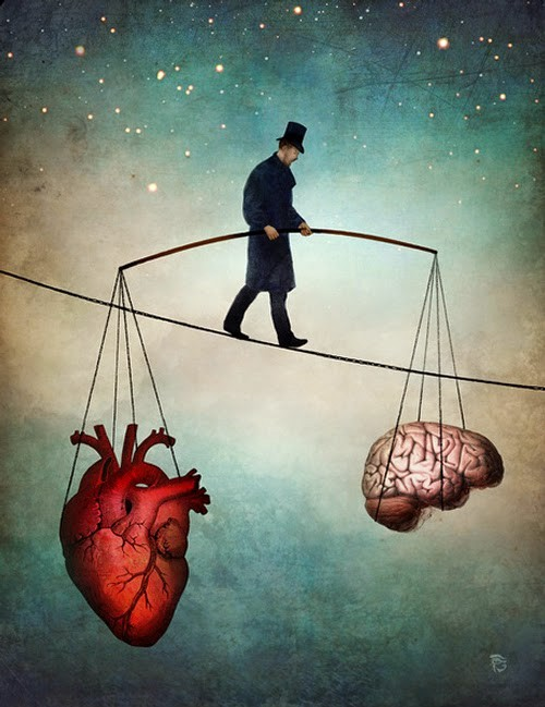 A person walking on a tightrope balancing a brain and a heart.