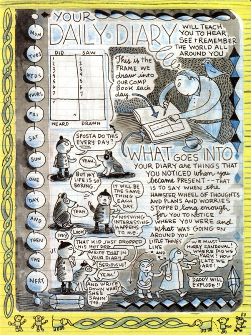 "Cartoonist Lynda Barry's drawing about the ""16 Things"" to notice about your day"