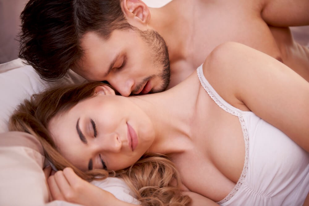 Young sexy naked heterosexual couple making stock photo
