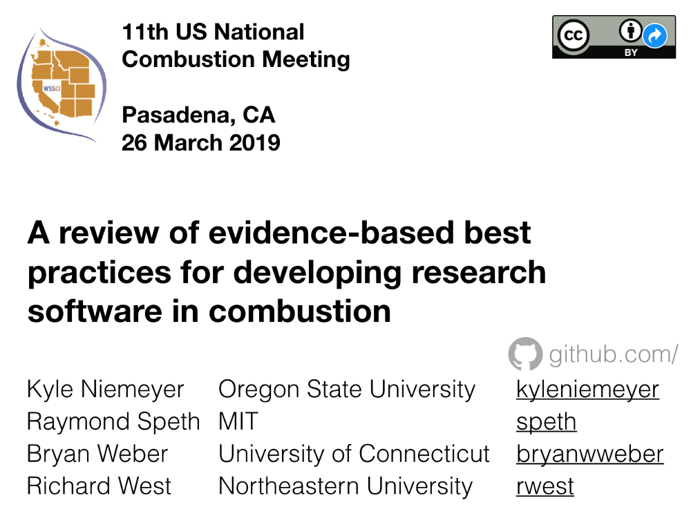 """Screenshot of the talk I gave: """"A review of evidence-based best practices in developing research software in combustion"""""""