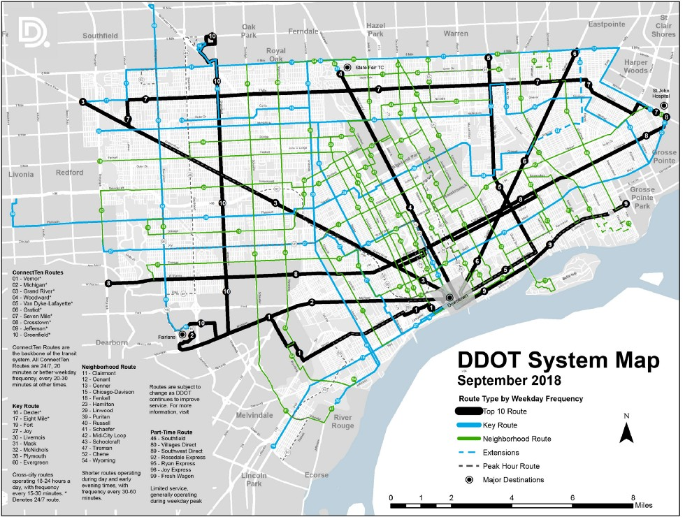 Detroit People Mover Map on