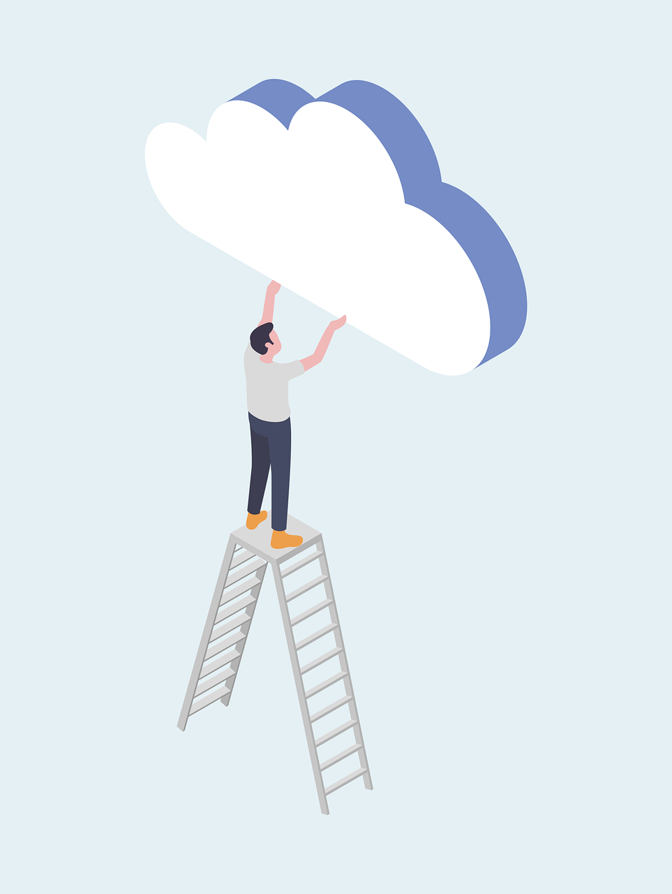 a man on top of a ladder positioning a cloud