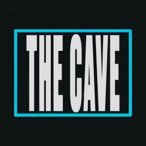 The Cave Logo official font and blue border