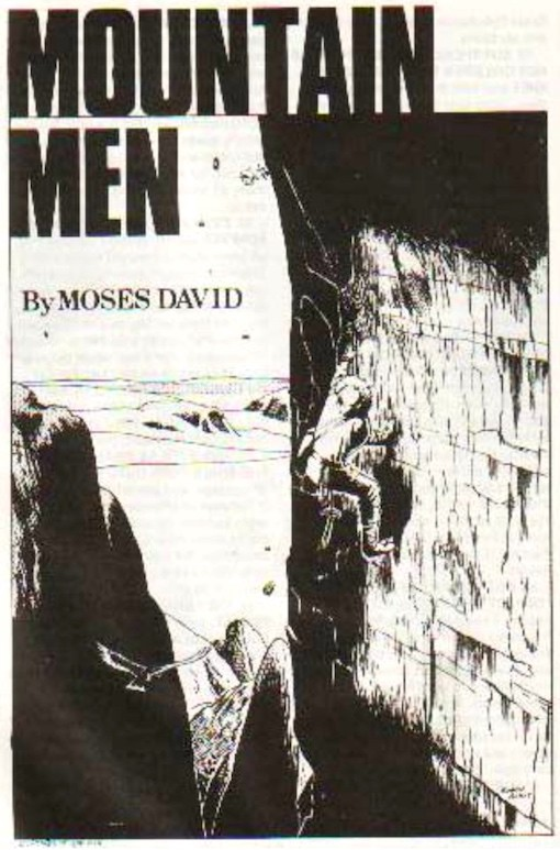 A man is scaling a sheer rock-face, an eagle is flying beneath him illustrating how high he is from the ground.