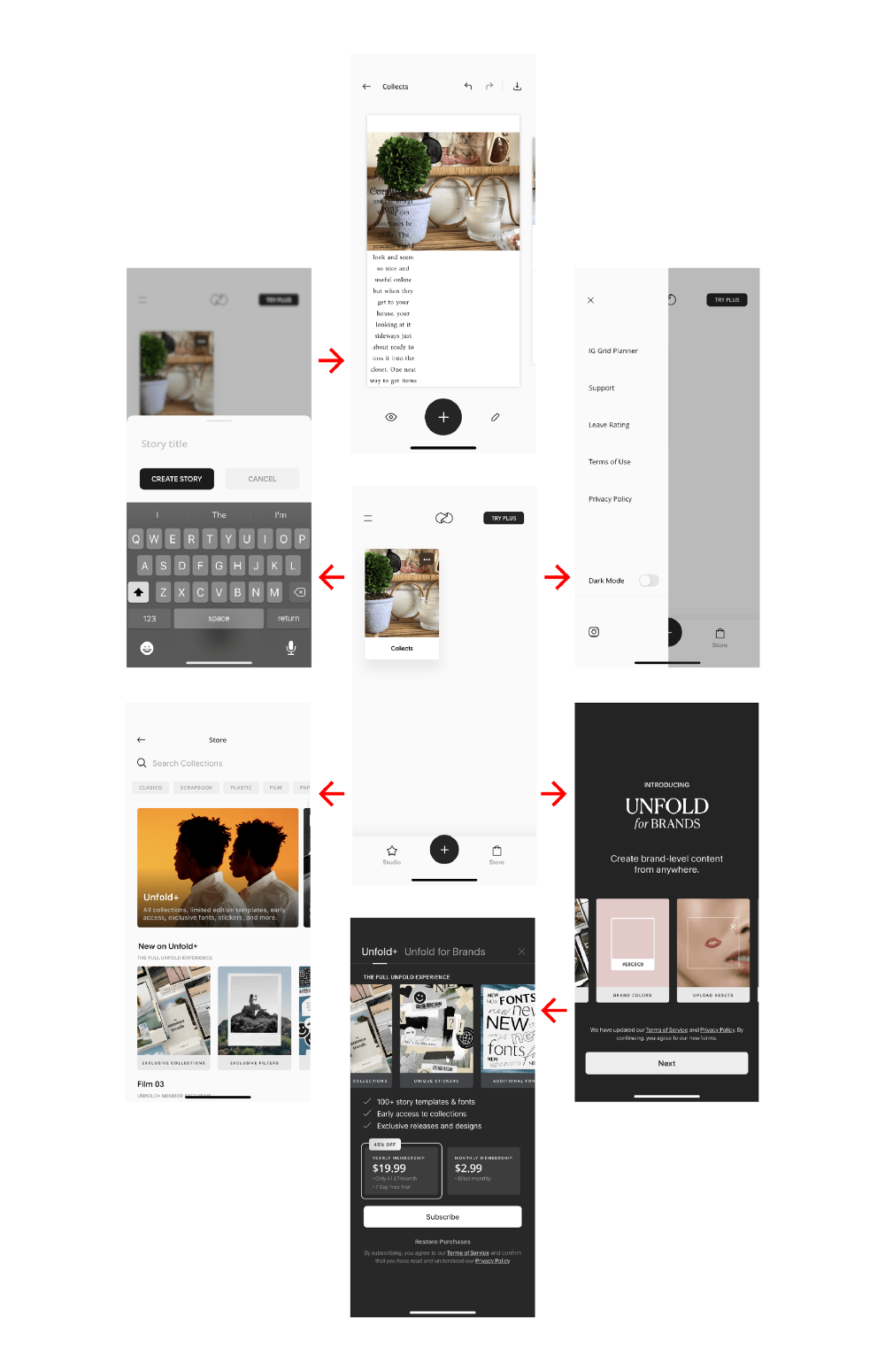 Screenshots of Unfold by Squarespace application
