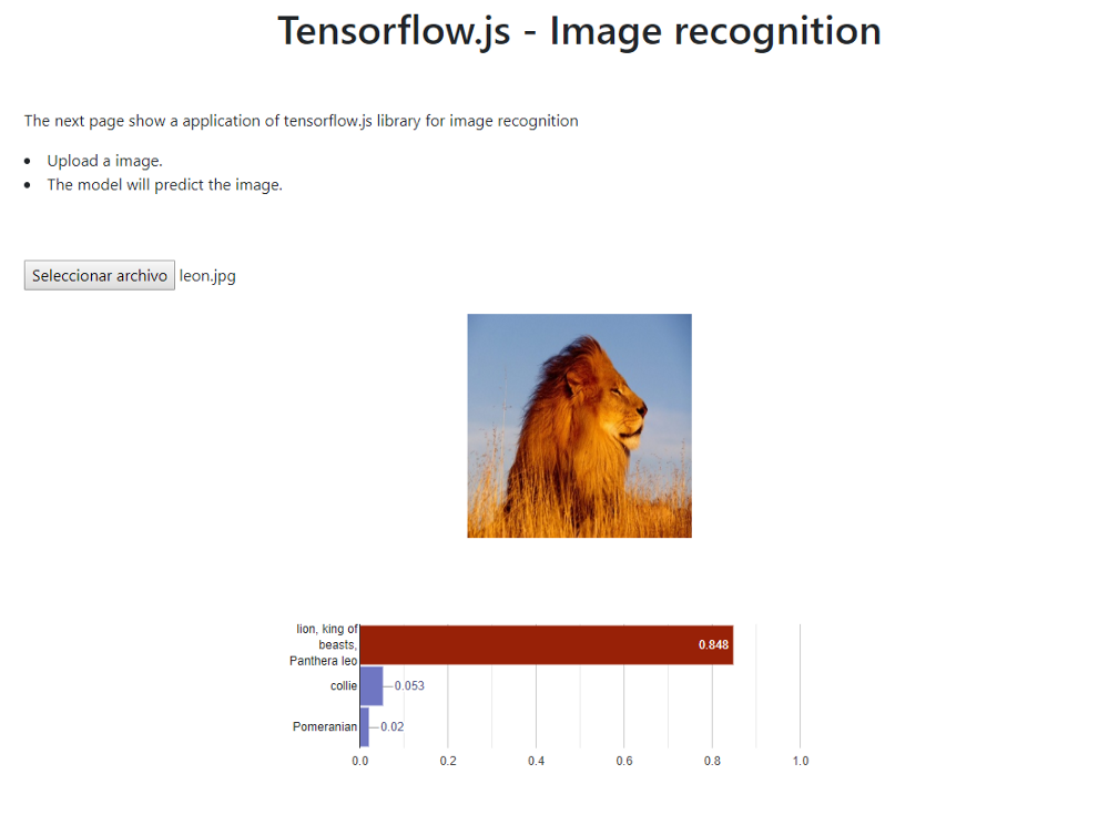 Create your web application to recognize images