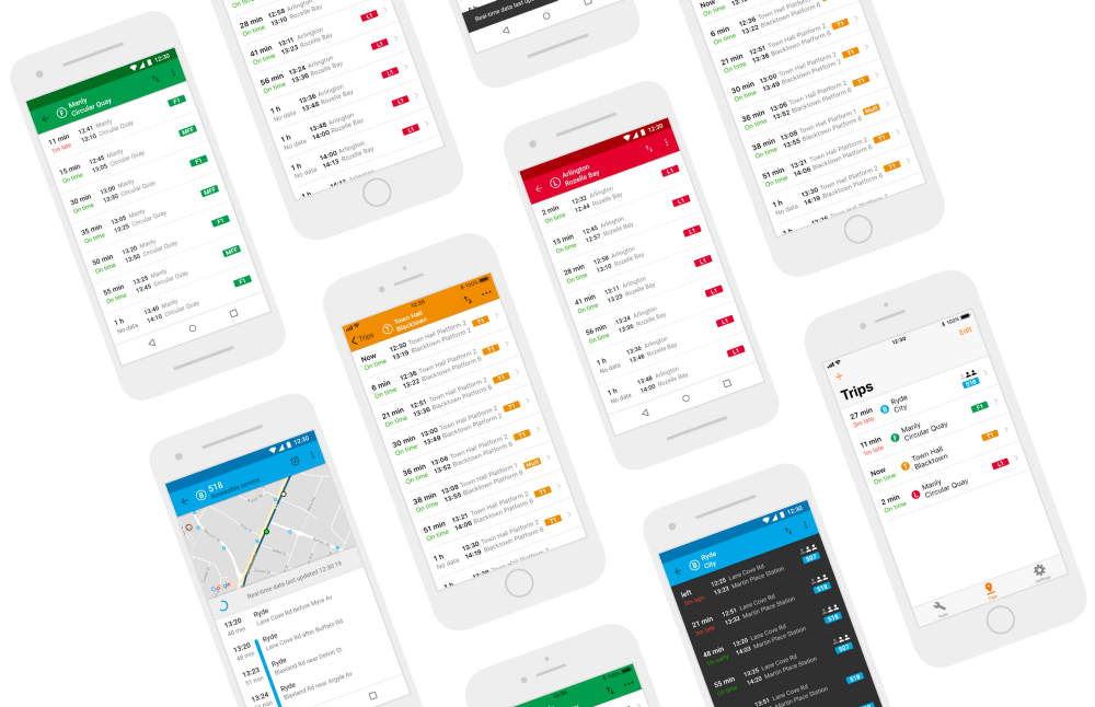 A series of screenshots of my TripView redesign concept