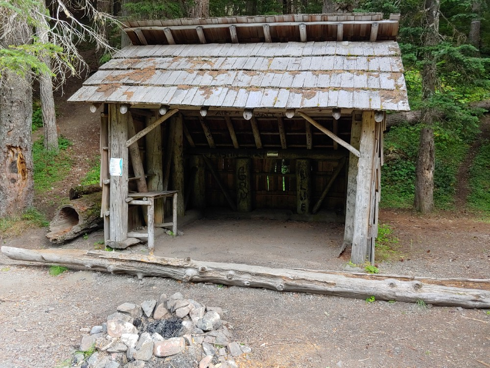 The Camp Handy shelter awaits backpackers in Olympic National Forest's Upper Dungeness River Valley.