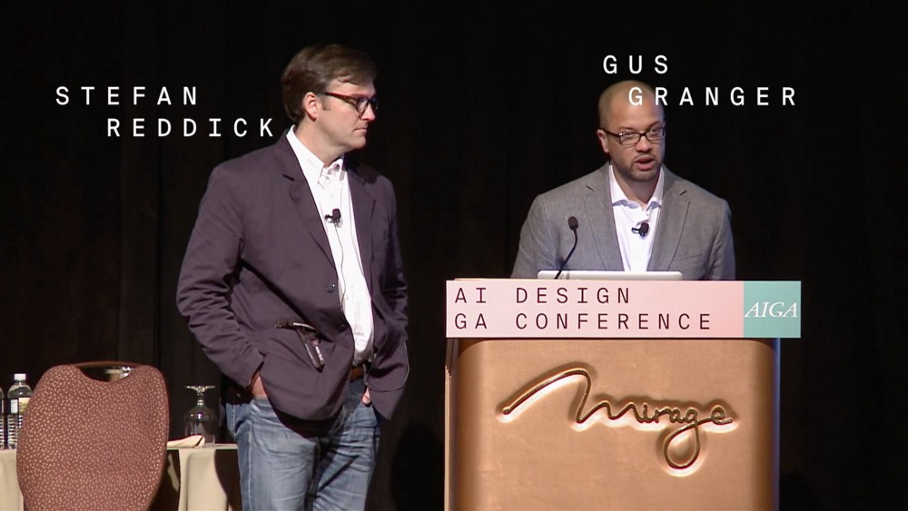 Stefan Reddick and Gus Granger speaking about the Modern South project at the 2016 AIGA National Design Conference