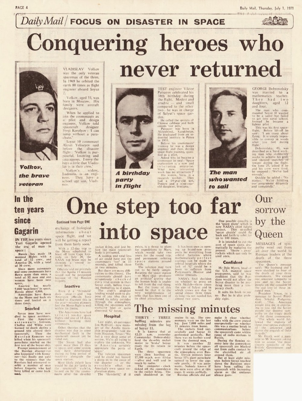 """A newspaper article with the headline """"Conquering heroes who never returned. One step too far into space."""""""