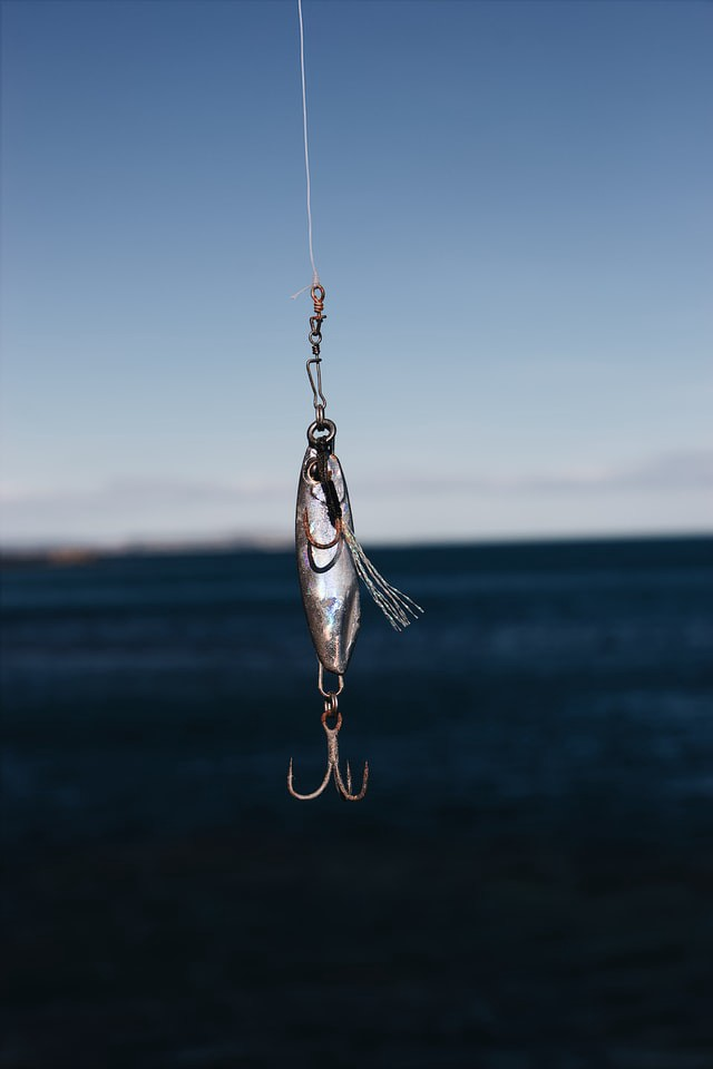 silver weighted fishing hook