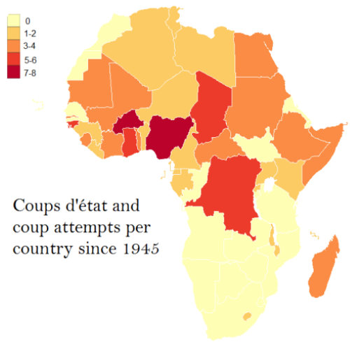 Map showing coups in Africa