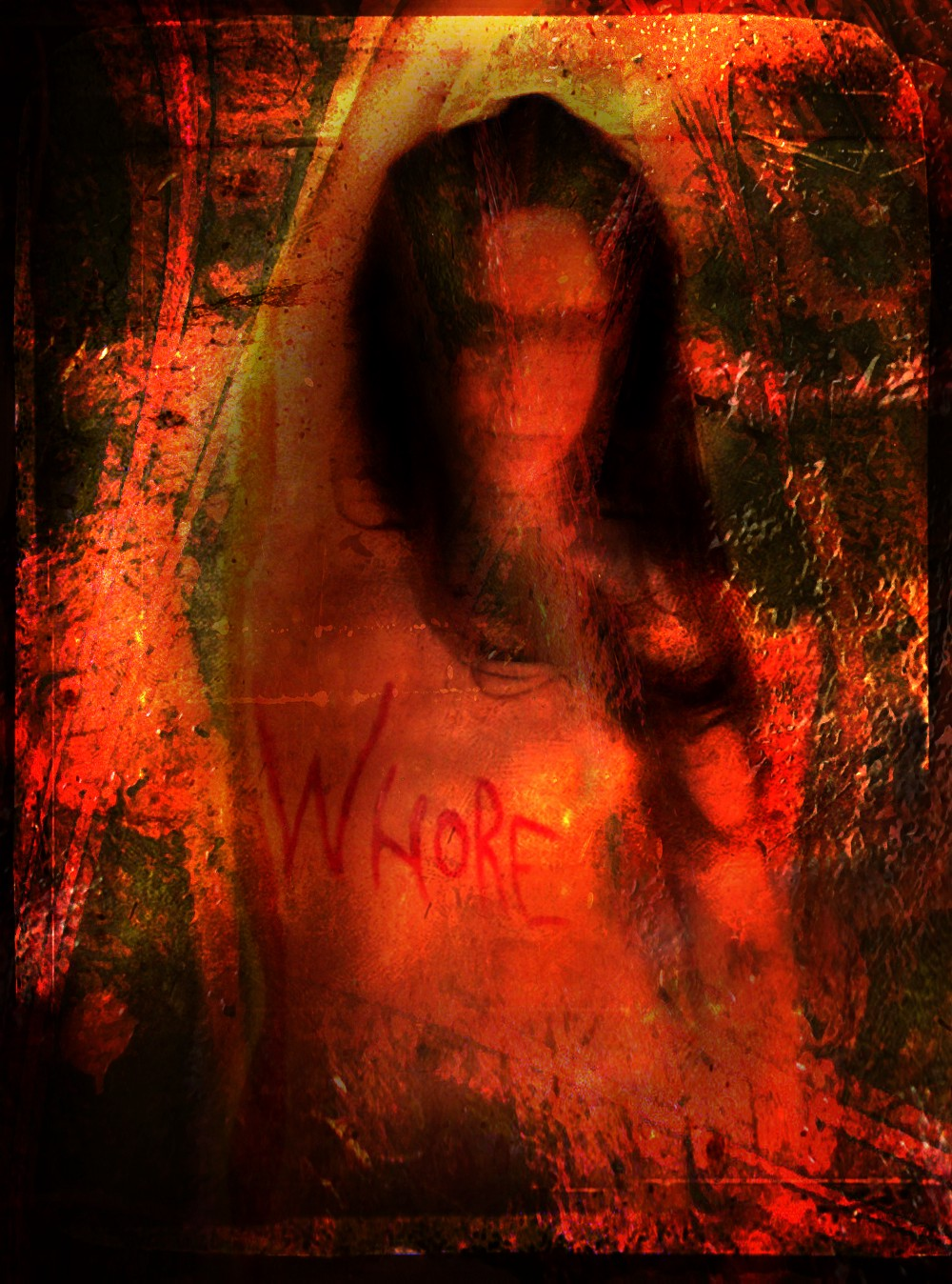 """Digital media image of a nude woman's torso, painted with the word """"whore"""" in a palette of red and black."""