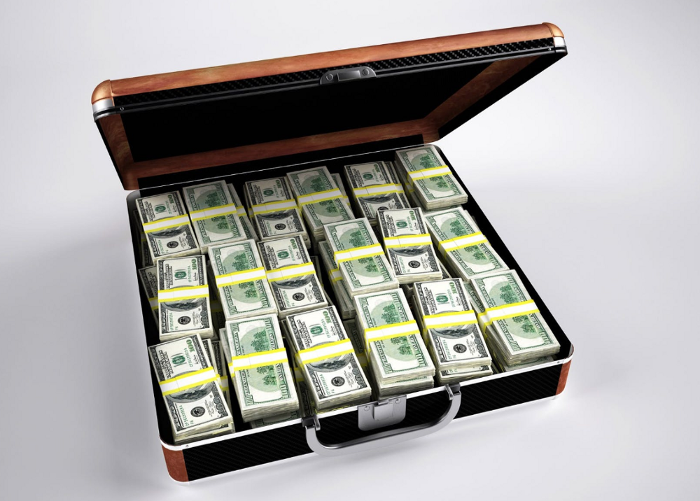 A carry-on bag with a very large amount of U.S. currency