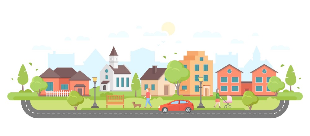 Drawing of a peaceful urban community with houses, school, church, park, and people.