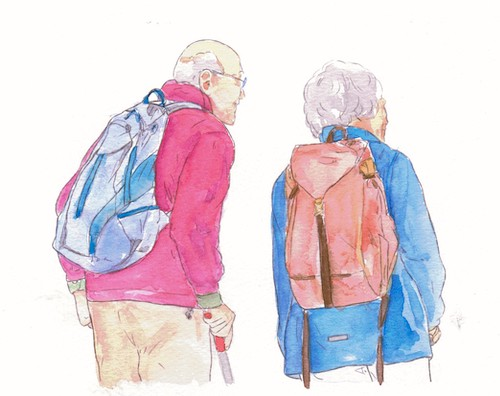 A watercolor illustration of an elderly couple.