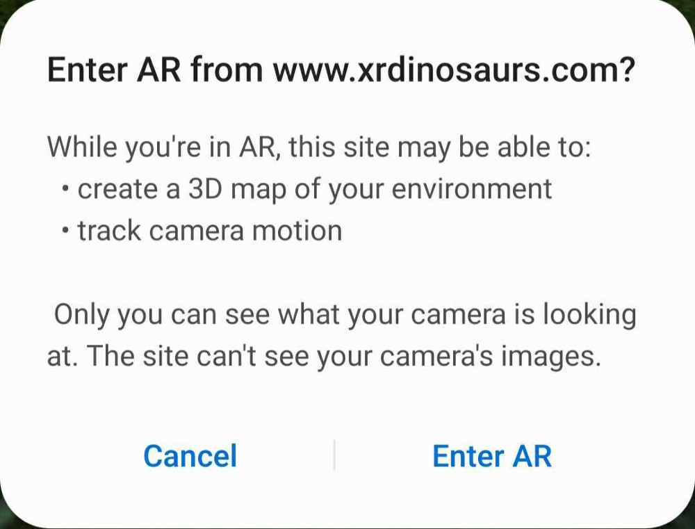 privacy prompt for entering the AR environment asking user permission for the site to track camera motion and create a 3d map