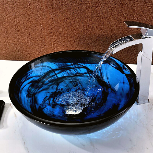 A cup-like sink made of glass