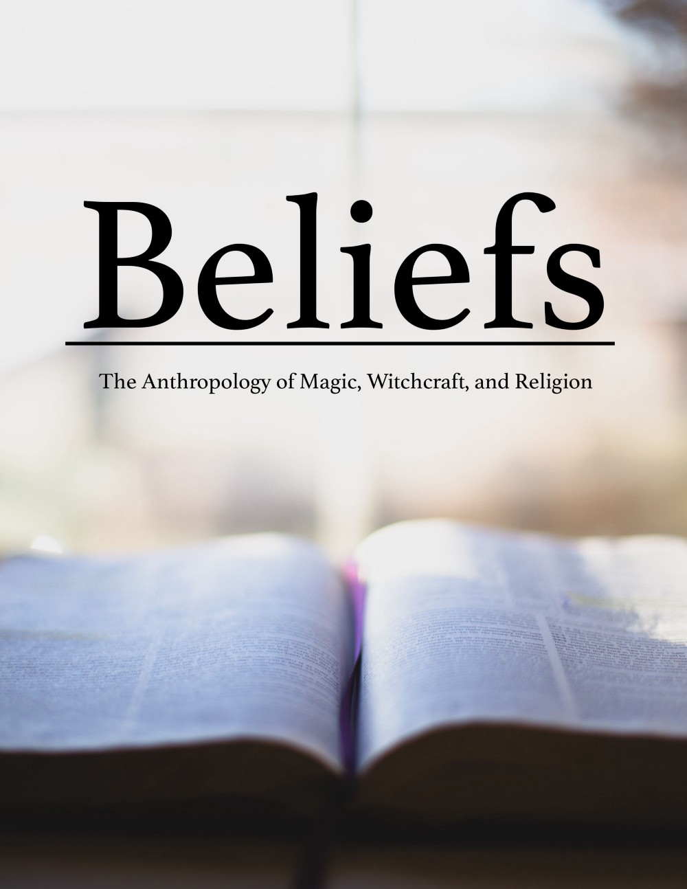 """A book cover depicting a religious text surrounded by glowing light. The text reads """"Beliefs."""""""