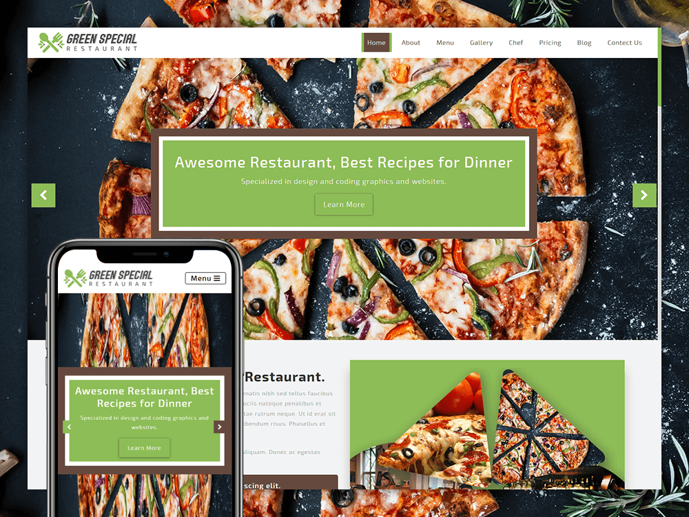 Green Special Restaurant Responsive Html5 Onepage Template