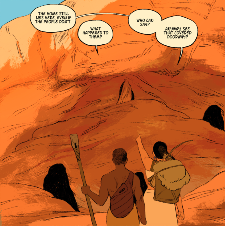 Naihu points out a cave with a blocked entrance to Pitu, who carries a broken spear. They are discussing the first humans.