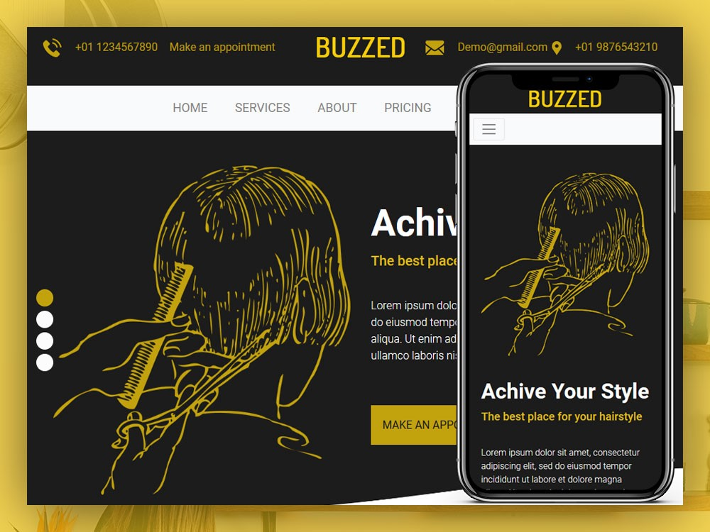 Buzzed Hairstyle Website Html Template By Html Design Free Html Template Medium