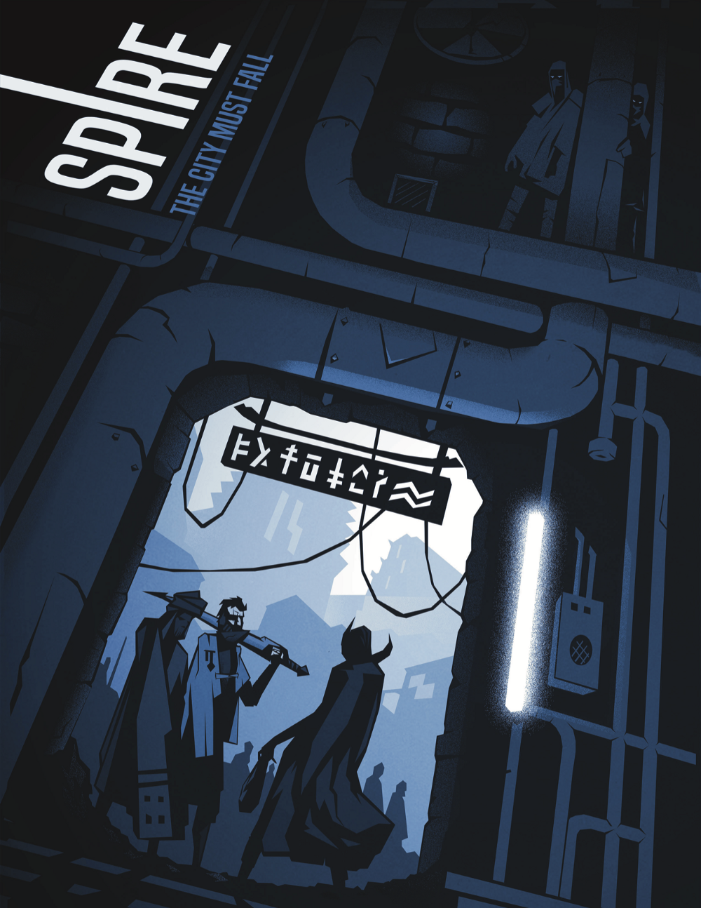 """The cover of Spire. It reads """"Spire: The City Must Fall"""". It shows three people in a doorway in bluescale"""