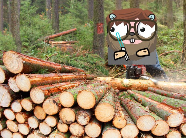 A bearded gopher with a lightsaber cutting up some logs