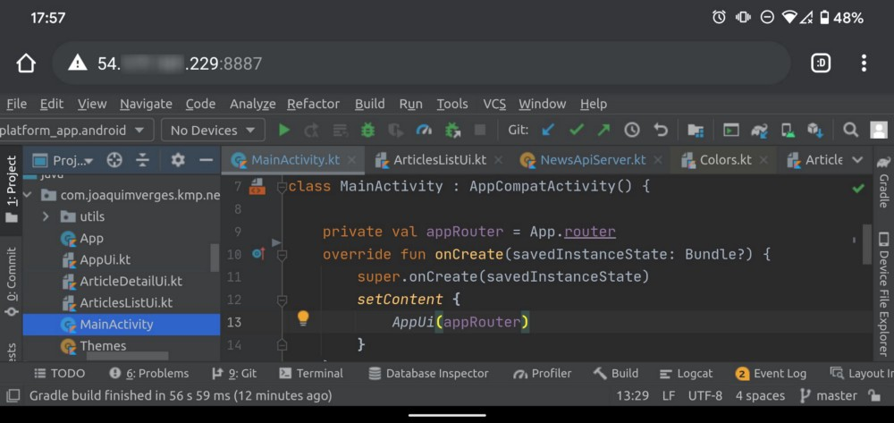 Running Android Studio with JetBrains Projector