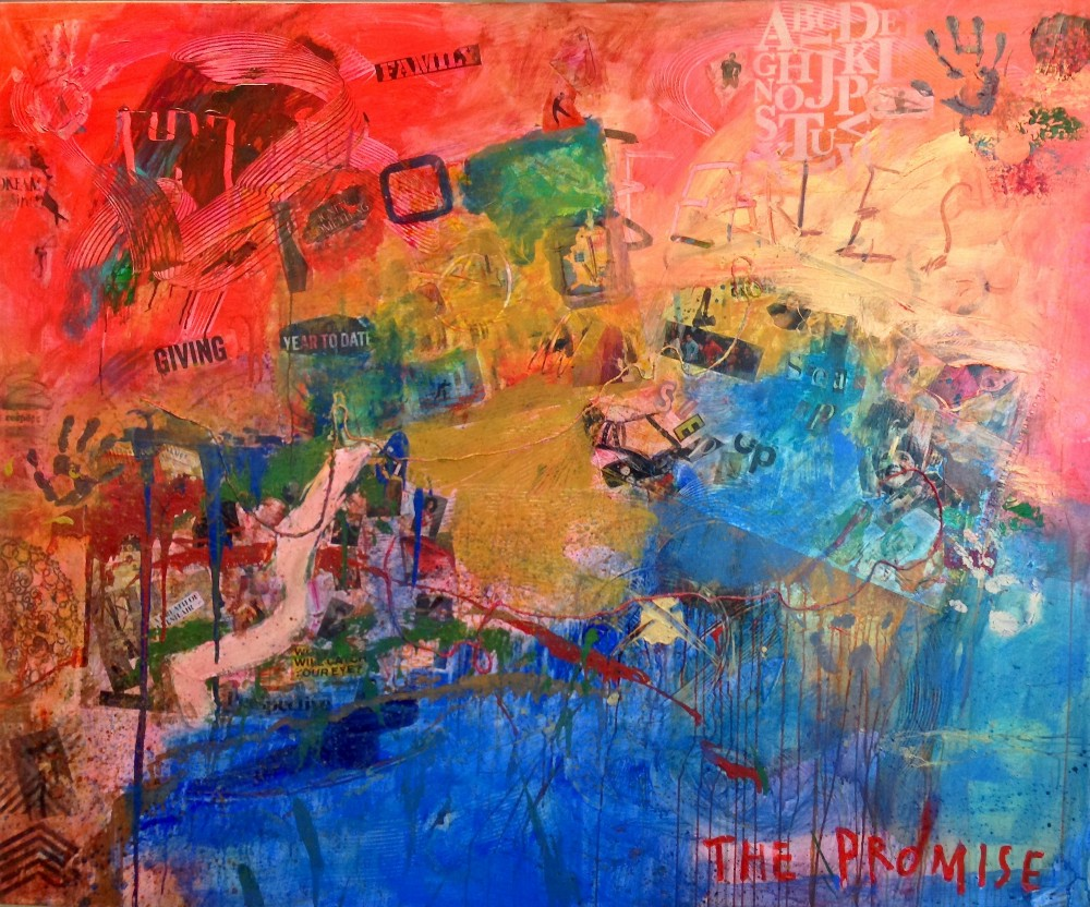 """The painting shows the result of a corporate workshop in which participants evoked the notion of """"promise."""""""