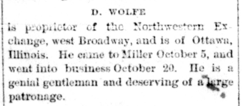 A clipping from the Hand County Press that includes the few lines welcoming Daniel Wolfe to Miller.