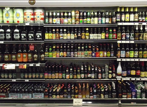 Single bottle section of organically bloated beer display