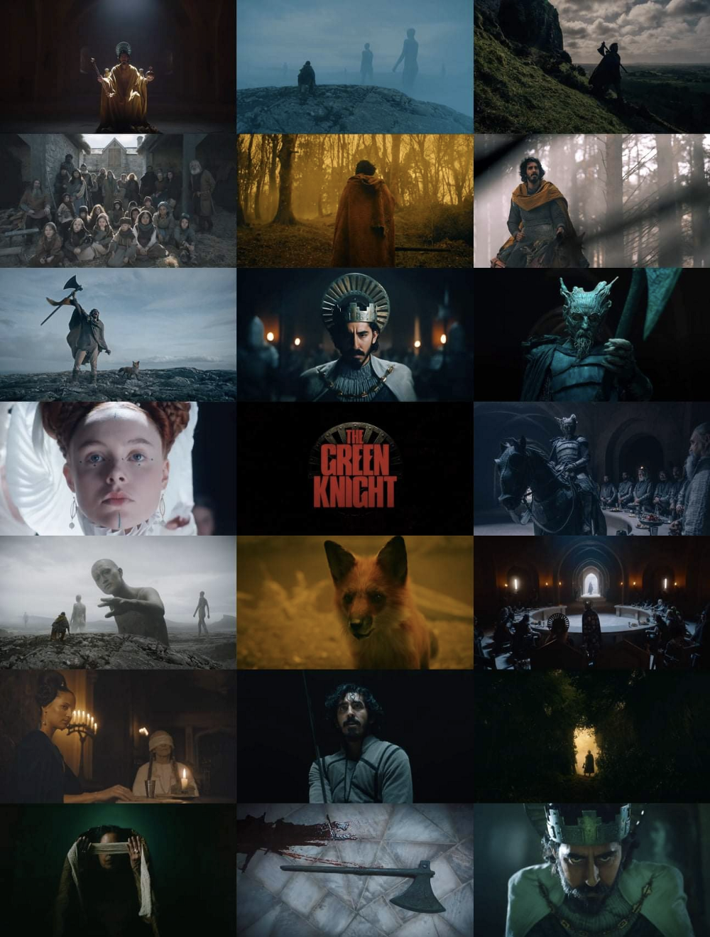 Various still images from the film THE GREEN KNIGHT