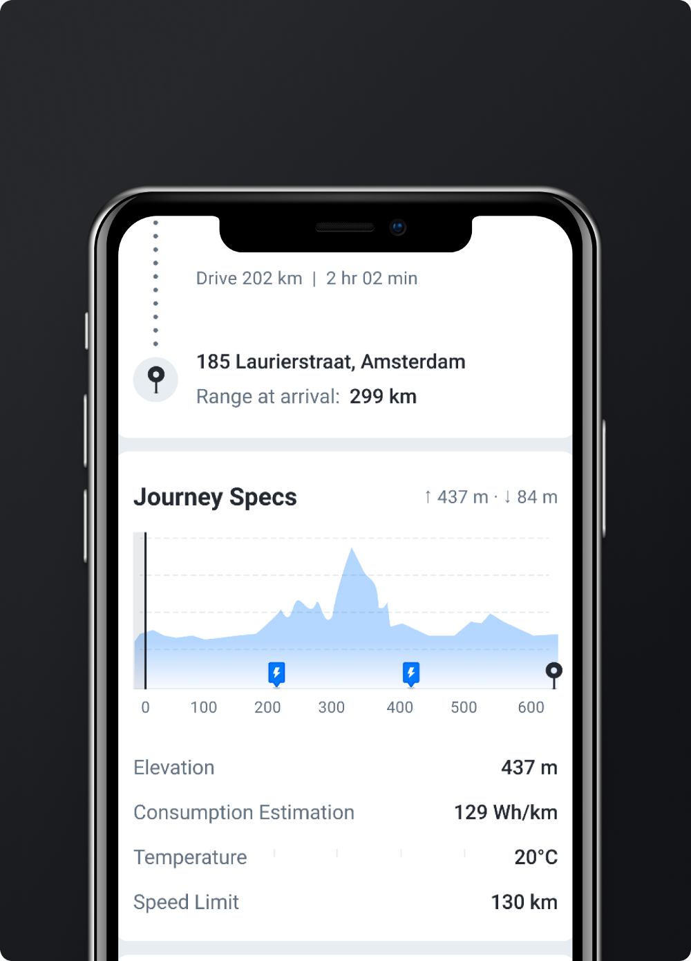 Chargetrip's EV route planner mobile application