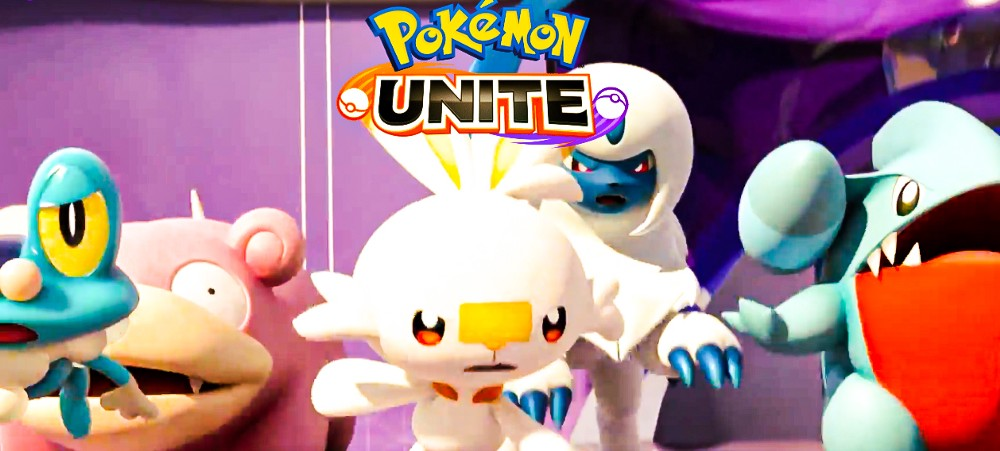 A screen capture of the graphic on the Pokemon Unite official website displaying the beginning scene of the Unite Battle alongside the logo place at the top-center of the image.