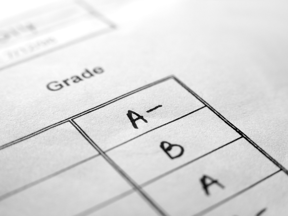 A picture of a report card.