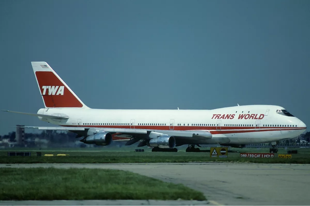 A Trans World Airlines (TWA) 747 on the runway.