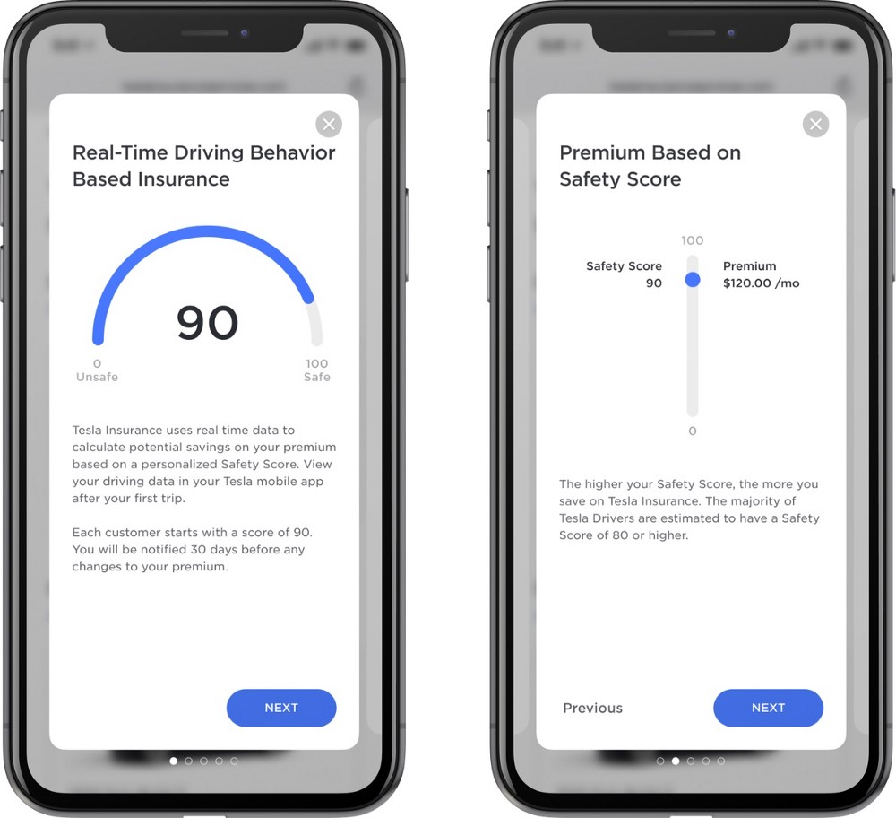 IMAGE: Two screenshots of the Tesla app showing the calculation of the premium for insurance using real time driving information