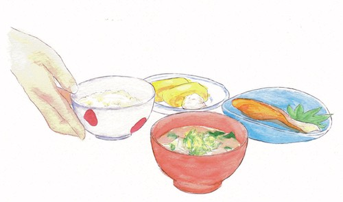 An illustration of savory Japanese dishes in bowls.