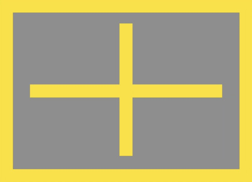 eSight 4 pupil distance test pattern with a yellow cross in the center inside a yellow border on a field of grey.