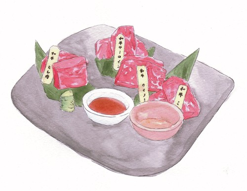 Watercolor illustration of small pieces of meat and two dipping bowls of sauce on a square gray platter.