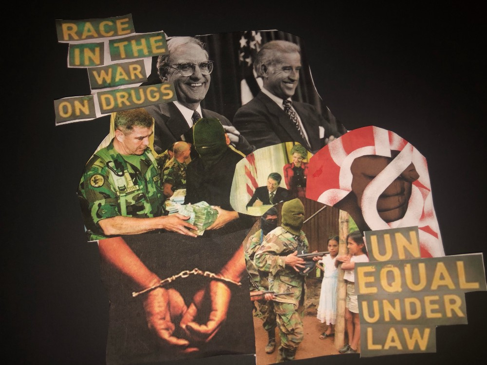 Collage of images about the war on drugs and its racialized impact.