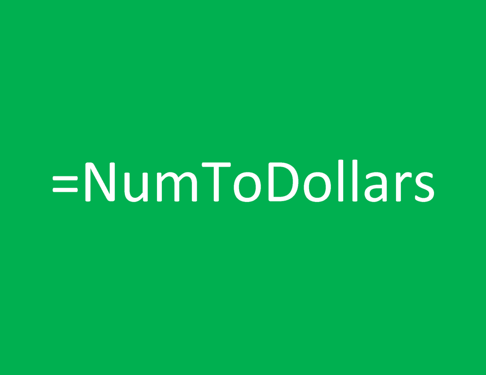 Microsoft Excel Built-in Formula to convert Number to Dollars