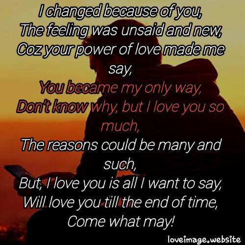 Because Of You Love Image Love Poetry Medium