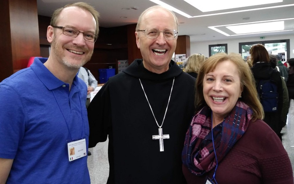 With Abbot Gregory Polan, center, and fellow Benedictine lay associate Greg Peters, left, in Rome in 2017.