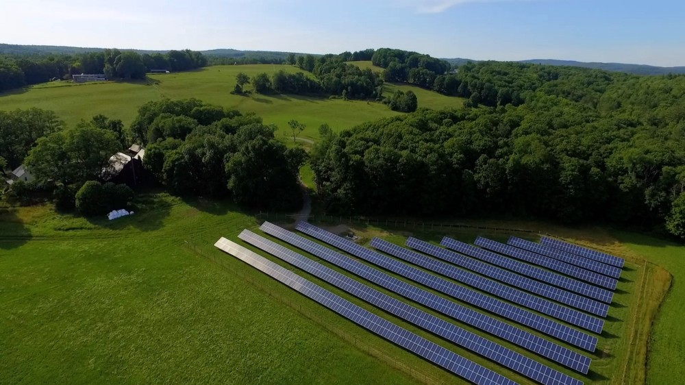 Photo of the solar energy array at the Putney School in Vermont.